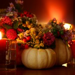 Thanksgiving flowers and candles
