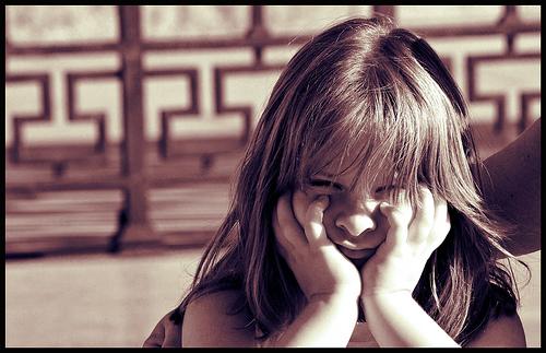 Angry little girl photo