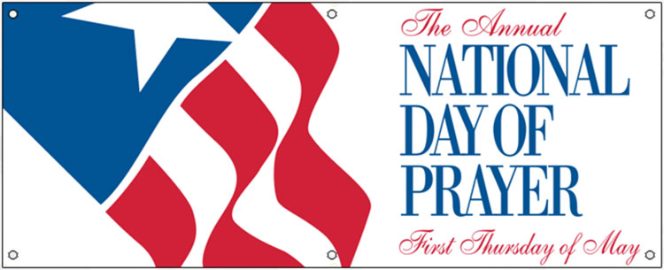 Banner showing National Day of Prayer graphics