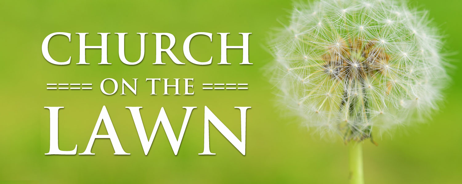"""Dandilion seeds against green background. Words """"Church on the Lawn""""."""